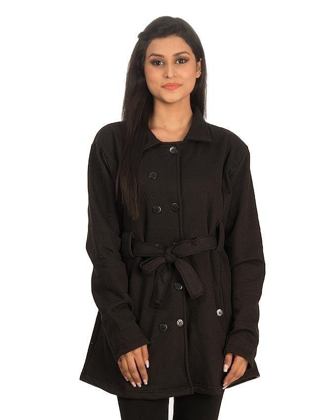 Mardaz Black Fleece Jacket For Women - Fashioniel