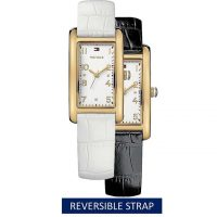 ac925996f28 TOMMY HILFIGER White Genuine Leather Quartz Wrist Watch 1781113